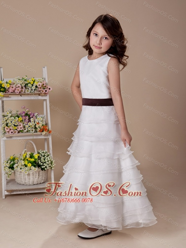 Ruffles High Neck Flower Girl Dress Ankle-length White A-Line Wedding Party Customize