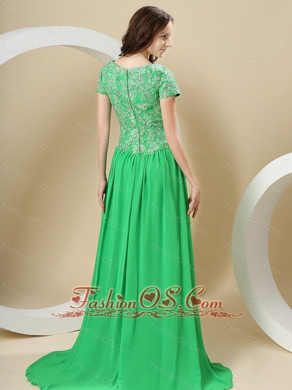 Spring Green Bateau and Appliques Bodice For Prom Dress With Short Sleeves