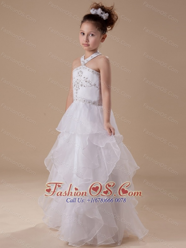 White Beading Organza Halter Floor-length Flower Girl Dress