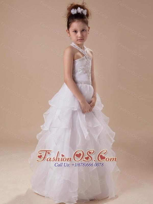 White Beading Organza Halter Floor-length Flower Girl Dress