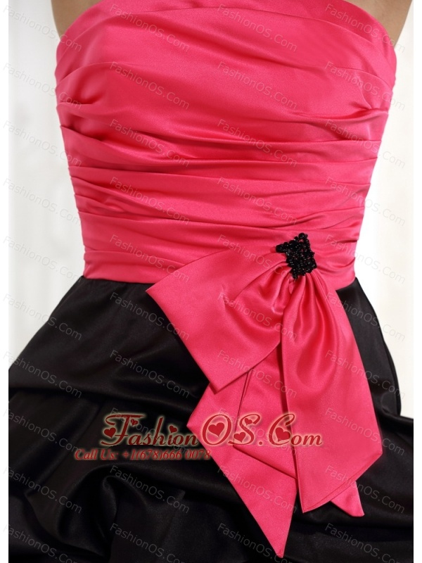 wholesale red and black ruched bodice prom cocktail dress