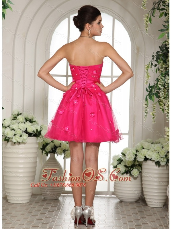 2013 Hot Pink Prom Dress With Appliques and Beading Mini-length For Custom Made