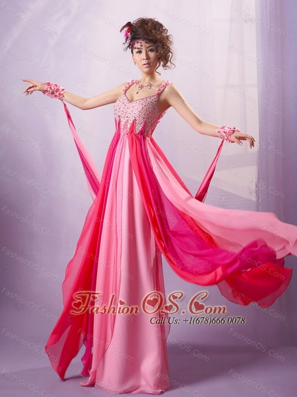 2013 Red Straps Applqiues Decorate Bust Prom Dress With Chiffon For Party