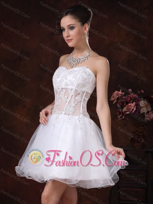 Appliques Sweetheart Mini-length For White Cocktail / Homecoming Dress