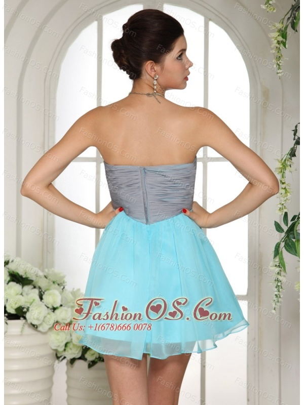 Aqua Blue and Grey Mini-length Club A-line Strapless Cocktail / Homecoming Dress