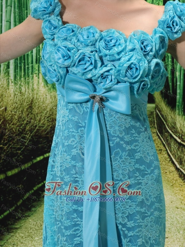 Aqua Blue Flowers Decorate Mother of the Bride Dress With Lace Sequare Neckline