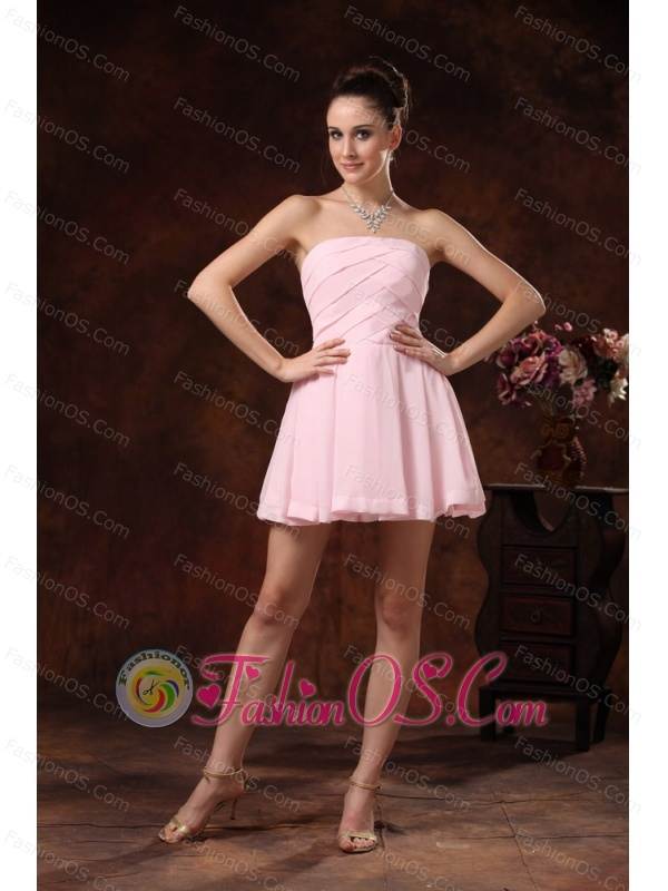 Baby Pink Ruch Mini-length Club Strapless Cocktail Dress For Custom Made