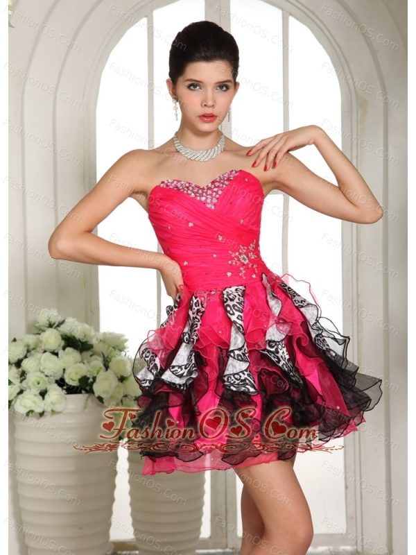 Beaded Sweetheart Mini-length Club Cocktail Dress For Custom Made Hot Pink and Black