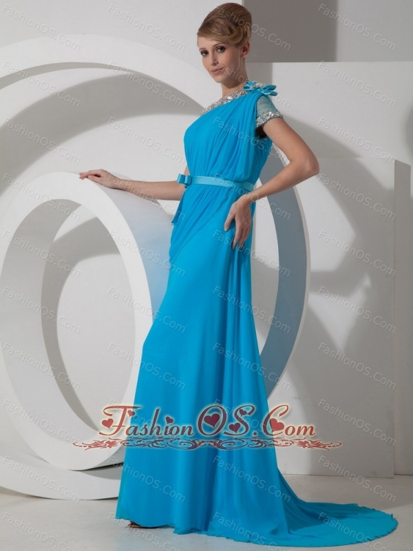 Beading One Shoulder 2013 Prom Dress Chiffon Empire Aqua Blue