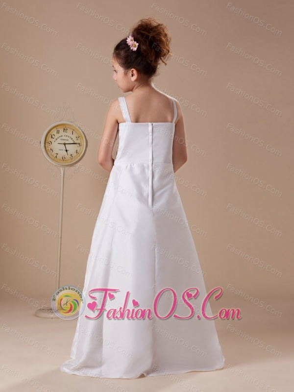 Bowknot Straps Embroidery Taffeta Hottest Custom Made Flower Girl Dress For 2013