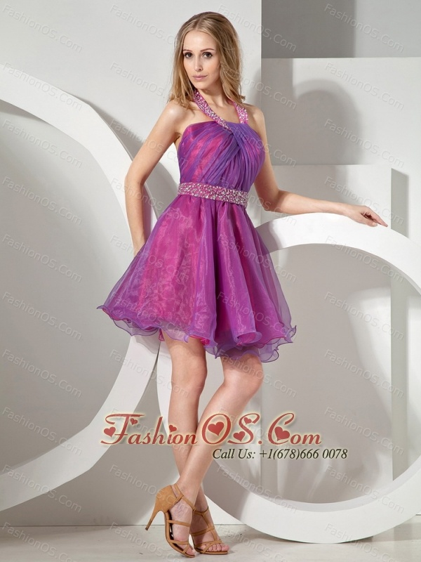 Colorful Beaded Decorate Waist and Ruch Bodice For Short Prom Dress