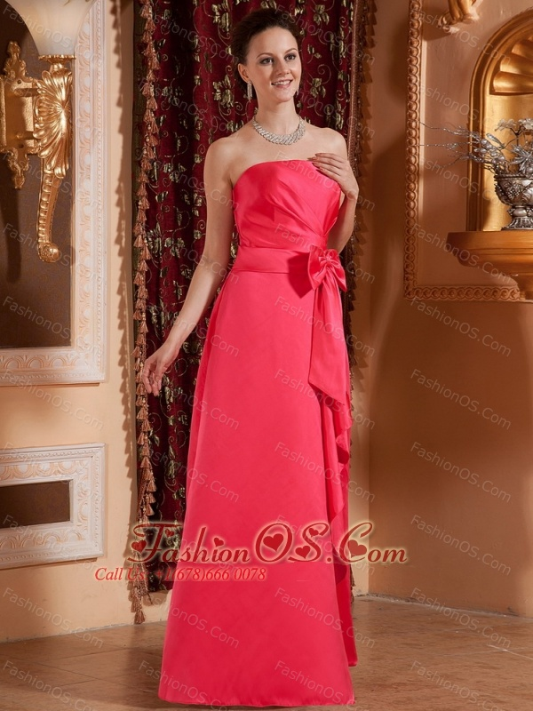 Coral Red With Bowknot For Custom Made   Bridesmaid Dress
