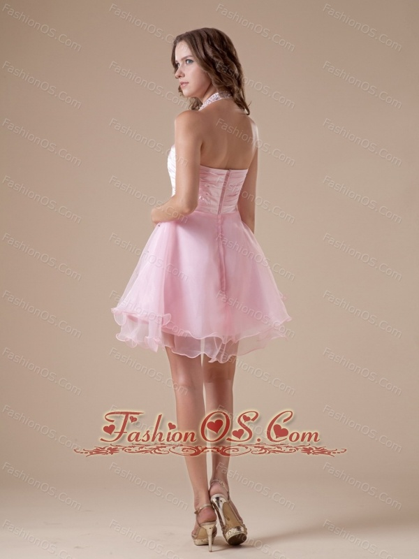 Custom Made Baby Pink Short Prom Dress With Halter