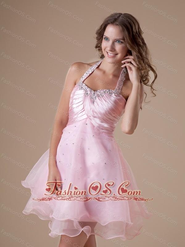 Custom Made Baby Pink Short Prom Dress With Halter Neckline Beaded ...