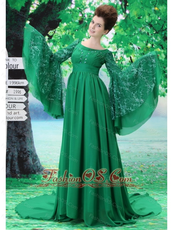 Custom Made For Mother of the Bride Dress With Scoop Long Sleeves Green