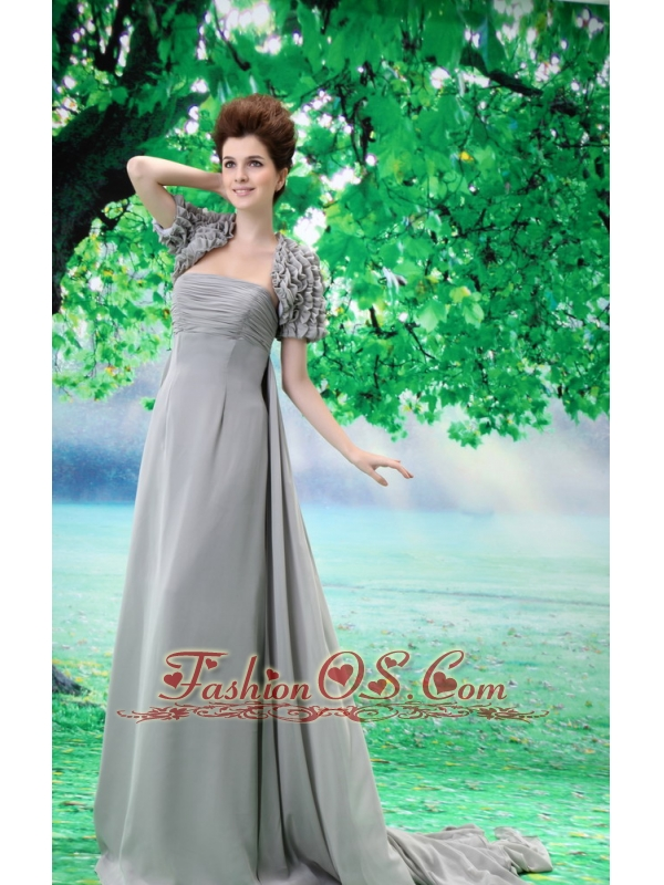 Custom Made Mother of the Bride Dress With Strapless Court Train Ruch and Chiffon