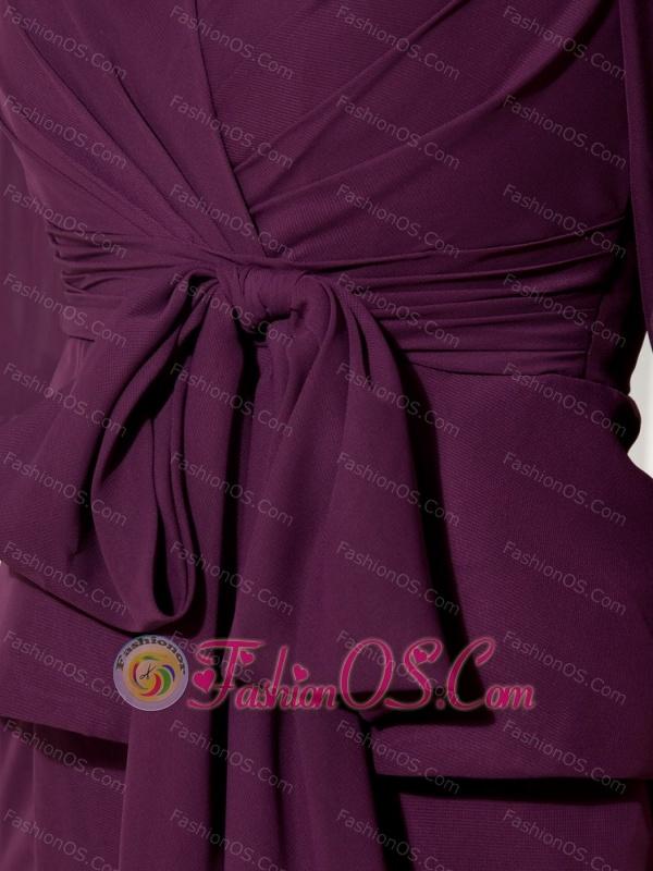 Dark Purple Empire V-neck Knee-length Mother Of The Bride Dress Chiffon