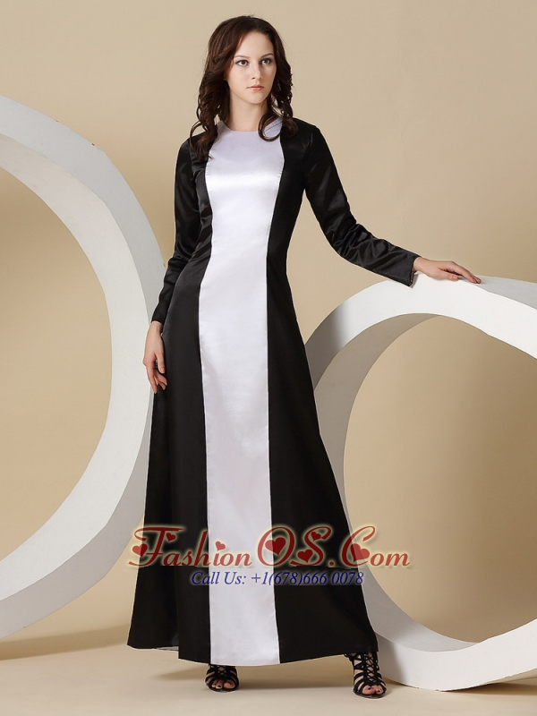 For Mother Of The Bride Dress With Long Sleeves Black And White