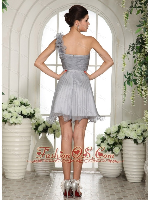 Gray Empire One Shoulder 2013 Dama Dresses for Quinceanera With Ruch Organza