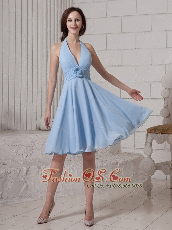 Halter Top Neck Empire Knee-length Hand Made Flowers Homecoming Dress For Custom Made