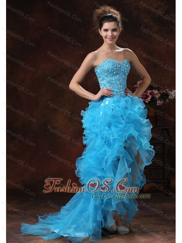 High-low Aqua Blue For 2013 Prom Dress With Beaded Bodice and Ruffles