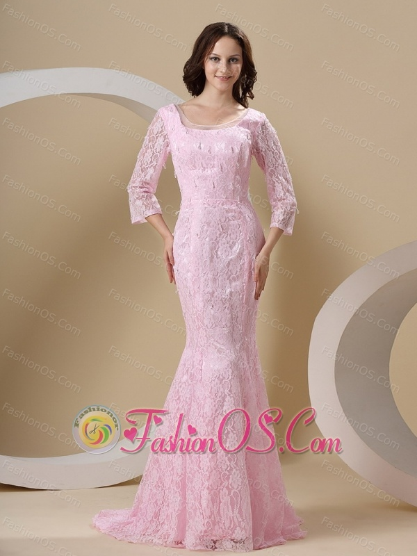 Lace Over Skirt and Scoop For Mother Of The Bride Dress With 3/4 Length