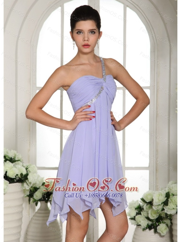 Lilac Beaded Decorate One Shoulder Mini-length Chiffon 2013 Homecoming / Cocktail Dress