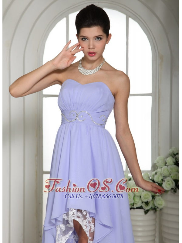 Lilac Chiffon Strapless Beaded Decorate Waist High-low Prom Dress For Custom Made