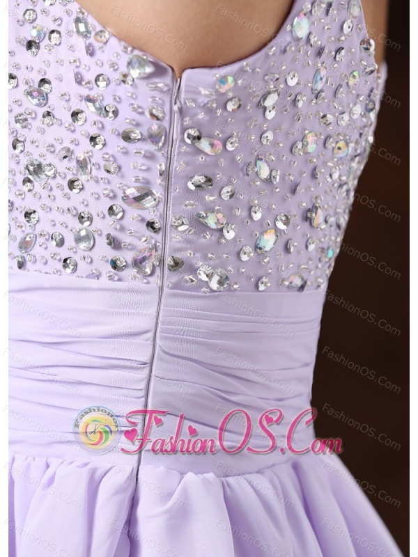 Lilac Straps Beaded Decorate Prom Cocktail Dress With Mini-length