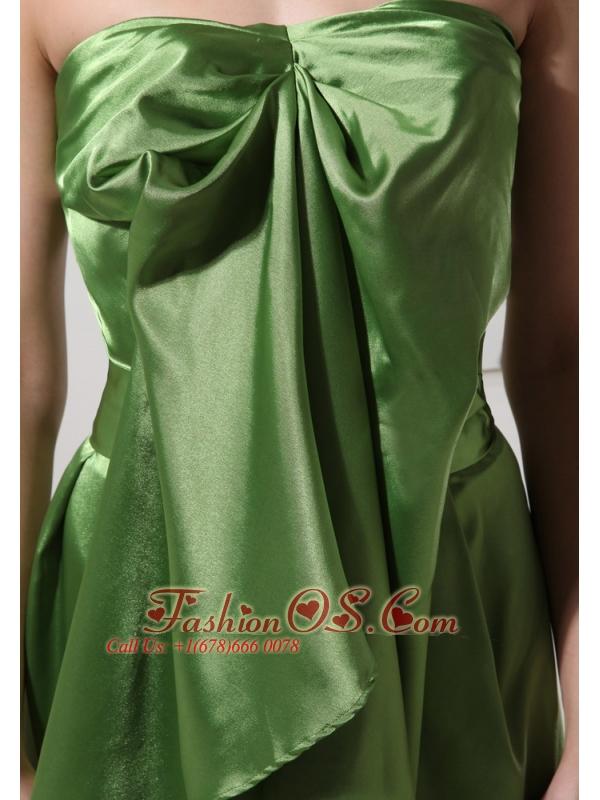 Olive Green Knee-length Dama Dresses For Quinceanera Custom Made