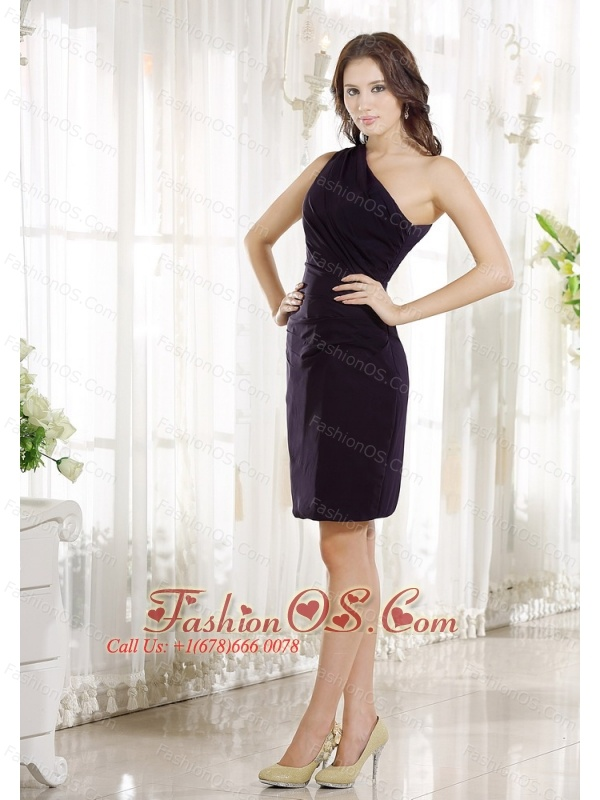 One Shoulder Purple Chiffon Knee-length 2013 Prom / Homecoming Dress