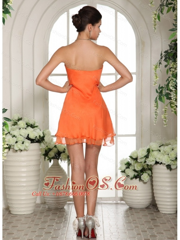 Orange V-neck Mini-length Club Dama Dresses For Quinceanera