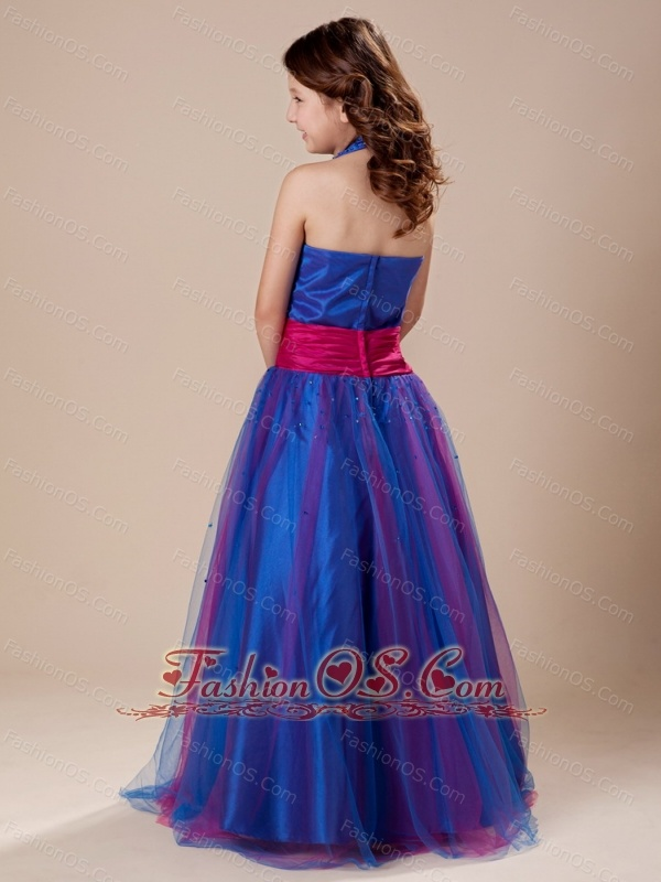 Paillette Over Skirt A-Line Sashes/Ribbons Royal Blue Halter Flower Girl Dress