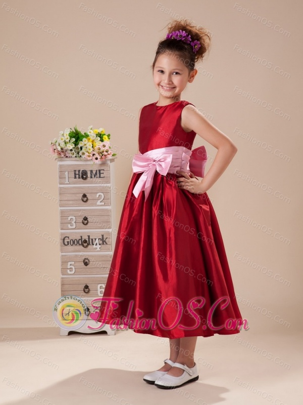Pink Bowknot Wine Red High Neck Taffeta Flower Girl Dress For Customize Hottest