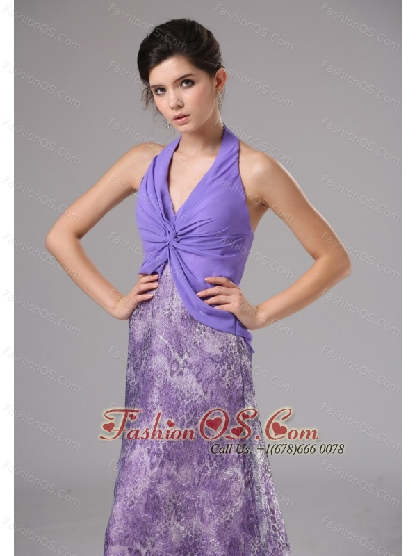 Purple Custom Made Halter Ruched Bodice For Prom Dress