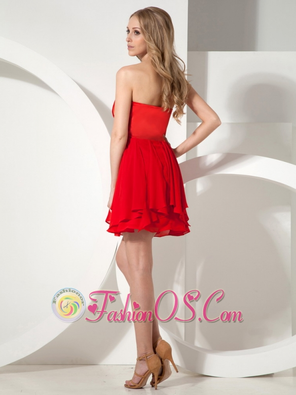 Red Princess Prom Dress With Ruch Decorate Strapless Neckline