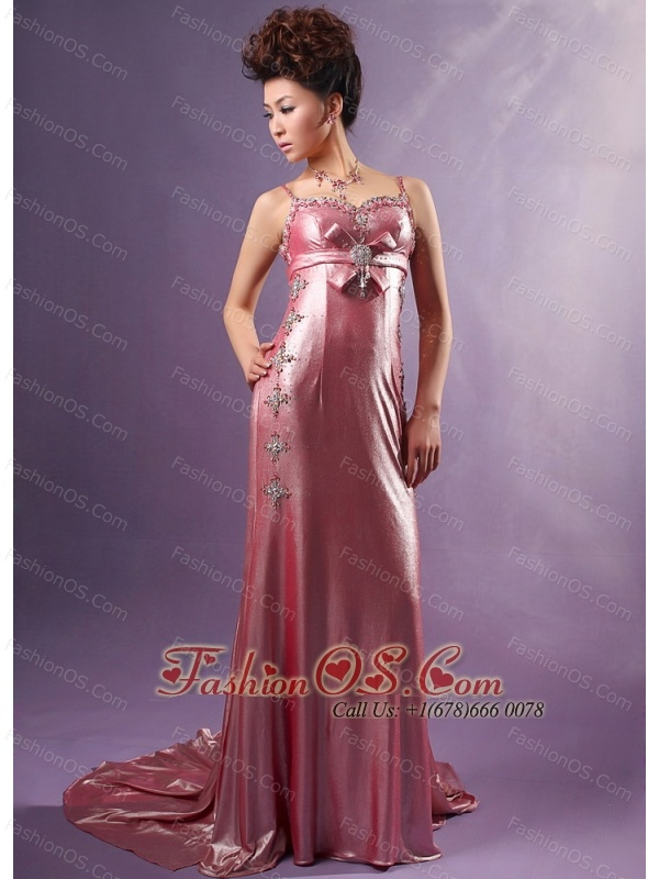 Silk Like Satin Spaghetti Straps Watteau Train Beading Prom / Evening Dress Light Pink