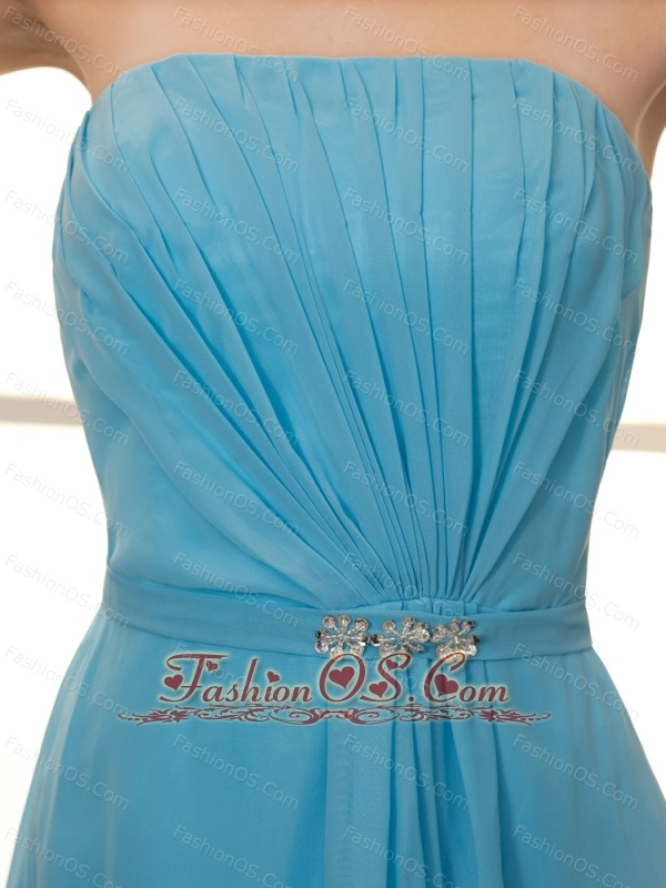 Strapless Organza Baby Blue Beaded Cocktail Prom Gowns Custom Made