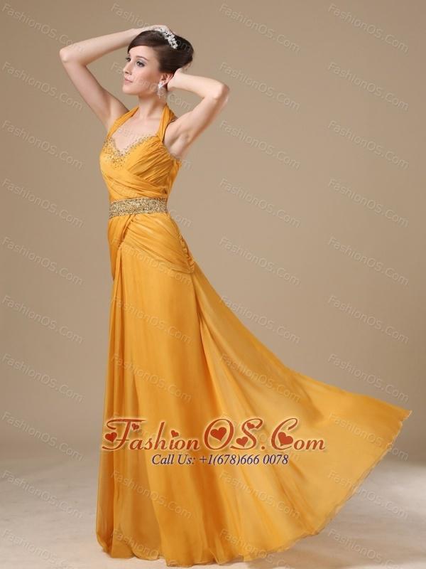 Straps Beaded Decorate Bust Waist Gold Chiffon Floor-length 2013 Prom / Evening Dress