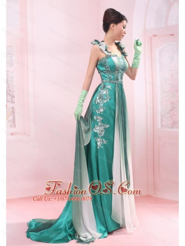 Turquoise Straps Beading Chiffon Brush / Sweep Empire Evening Dress