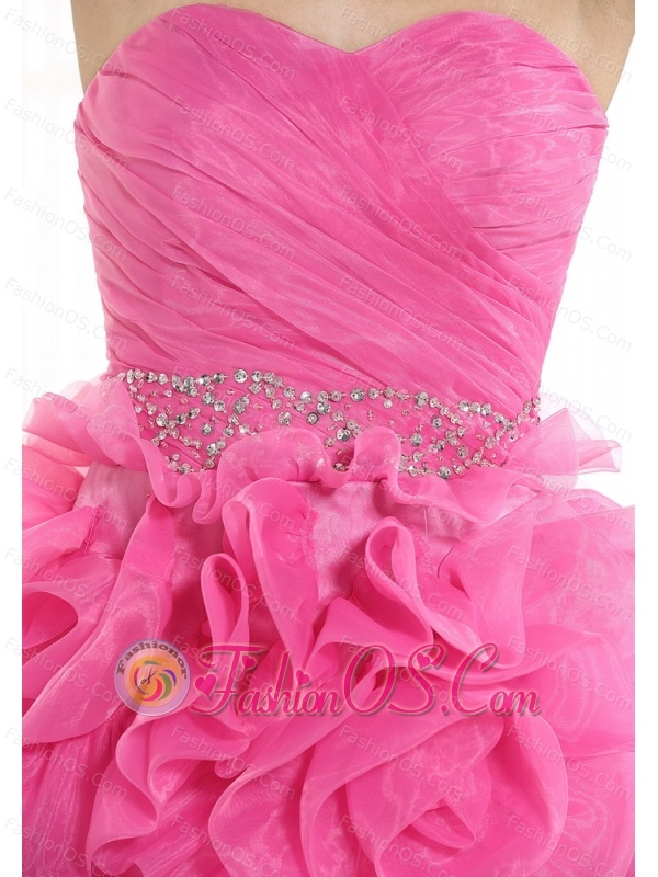 Beaded Decorate Waist Ruch Hand Made Flower Organza Hot Pink Mini-length 2013 Prom / Homecoming Dress