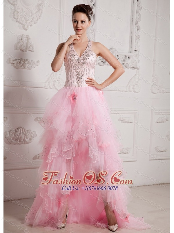 2013 Baby Pink High-low Ruffled Layeres Beading Prom Celebrity Dress ...