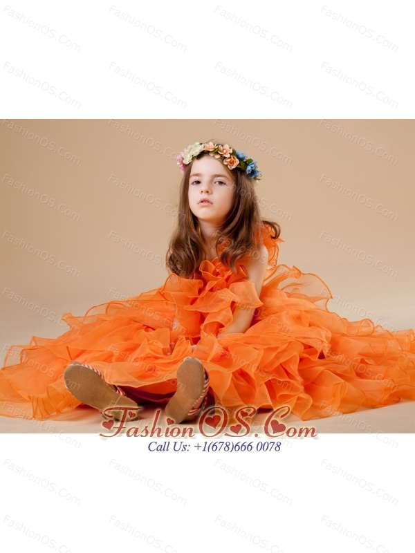 A-Line Orange Beautiful Beading One Shoulder Organza Flower Girl Dress