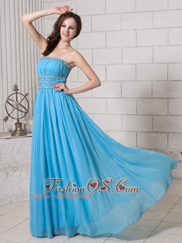 Baby Blue Empire Strapless Beaded Decorate Waist Prom Dress Wuth Backless 2013 New Arrival