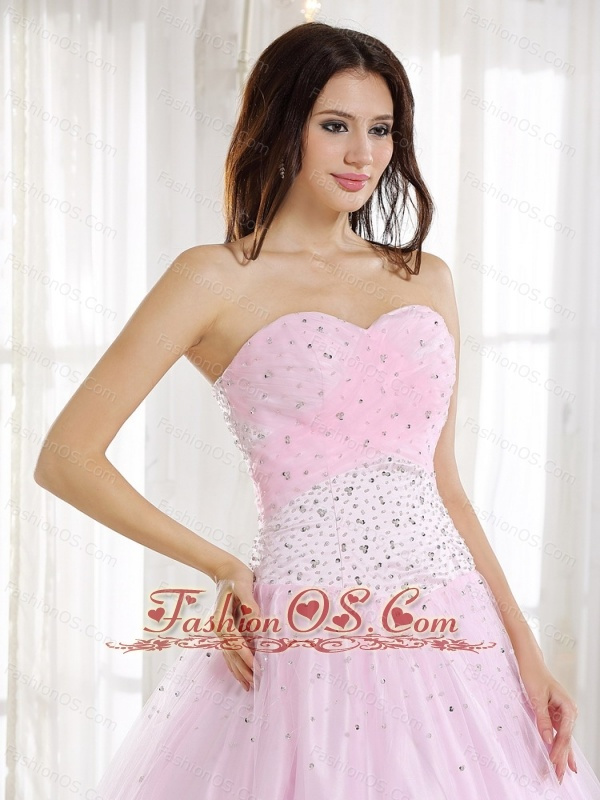 Baby Pink and Sweetheart For 2013 Prom Dress With Beaded Decorate Bodice