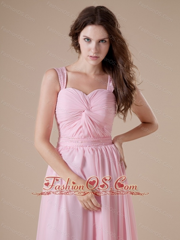 Baby Pink Chiffon Sweetheart Straps Ruch Prom Dress Dress For Custom ...