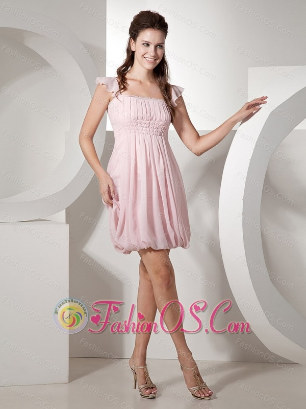 Baby Pink Square Chiffon Mini-length Prom Dress For Club