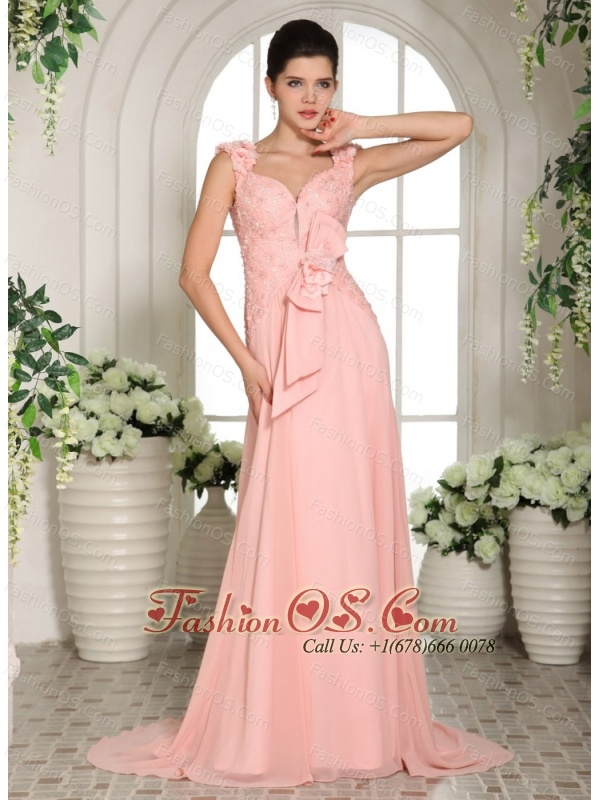 Baby Pink Straps Hand Made Flowers Stylish Prom Gowns With Brush Train
