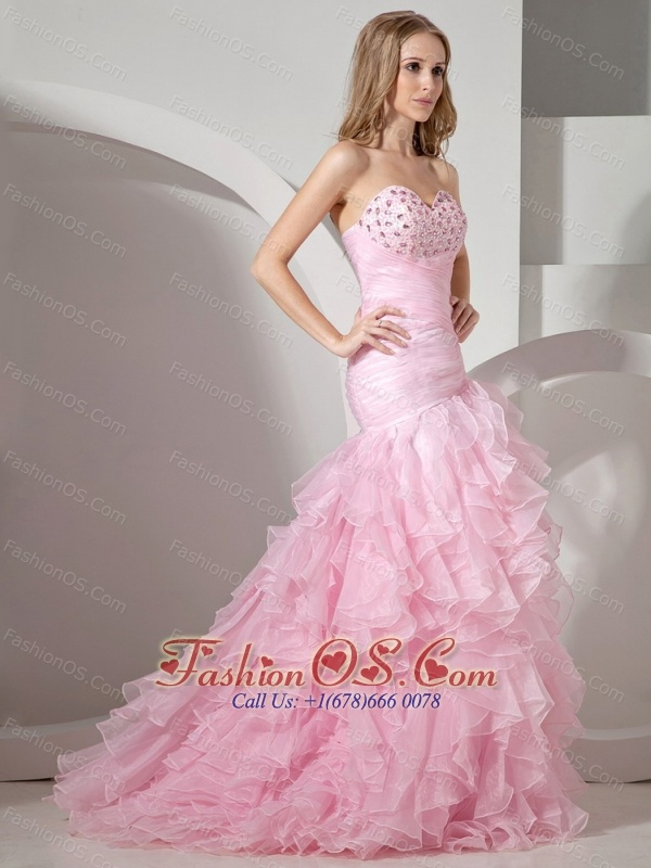 Baby Pink Sweetheart Neckline With Rhinestones and Ruffles Decorate ...