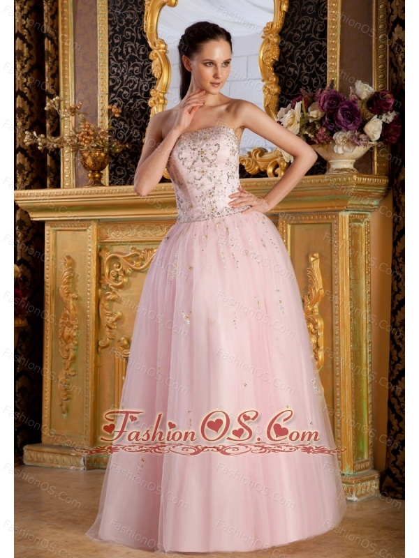 beaded decorate bodice light pink strapless floorlength